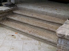 Splait face stone form liners stamped concrete steps